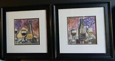 TANYA M FISCHER Used LOT OF 2 Framed & Matted VICANTO PRINTS BORDEAUX Free Ship