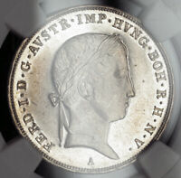1846, Austria, Ferdinand I. Rare Proof-Like Silver ½ Thaler Coin. NGC MS-62 PL!
