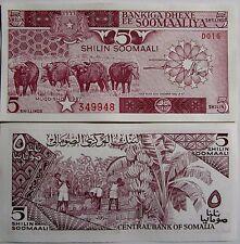 "BILLETE ""  SOMALIA      5  SHILLIN   AÑO  1987   PLANCHA    UNC"