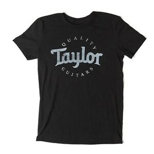 Official Taylor Guitars Men's Black Distressed Logo Tee Shirt Cotton Size Large