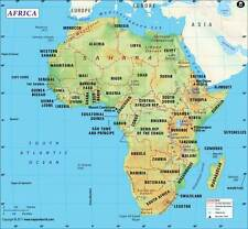 """Africa Continent Map (Wall Map) 36"""" x 33.25"""" Paper"""