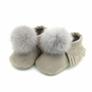 Princess Shoes Toddler Baby Girl Shoes Soft Boots Real Fur Infant First Walkers