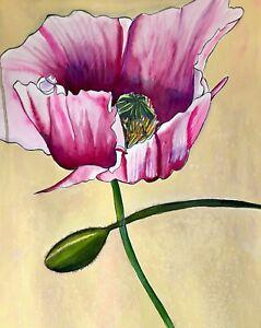 ORIGINAL ART - Pink Poppy flower watercolour