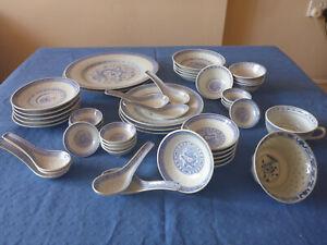 46 Pcs Chinese Rice Grain Blue White Porcelain Dinner Set (37 Dragon + 9 Floral)