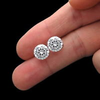 5 Ct Solid 14K White Gold Basket Round Brilliant Cut Solitaire Earrings Studs