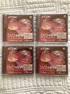Four TDK DVD +RW 1-4x Speed 1.4GB Single Sided Discs