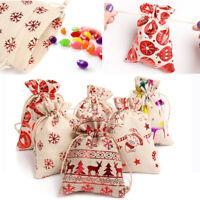 Christmas Vintage Natural Burlap Gift Bags Wedding Party Favor Pouch Jute Bag