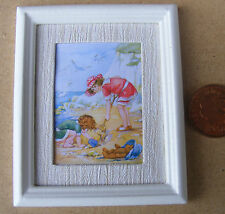 1:12 Scale Framed Picture Print Of A Beach Scene Dolls House Miniature Painting