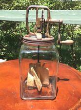 Antique Primitive Hand Crank Glass Kitchen Butter Mixer Churn 9K4249