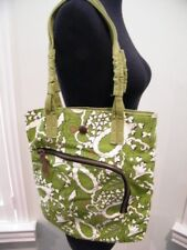 PAUL FRANK  LOVELY OLIVE GREEN CANVAS TOTE PURSE LARGE OUTSIDE ZIP POCKET TOO