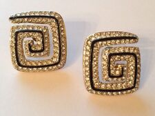 Swarovski Crystal Swan Stamped Swirl Square Rare Gold Plated Pierced Earrings