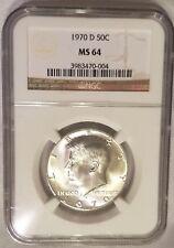 1970 D 50c Silver Kennedy Half Dollar NGC MS 64