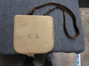 """US MODEL 1878 HAVERSACK W/ """"ROCK ISLAND ARSENAL 1906"""" LEATHER SHOULDER STRAP"""