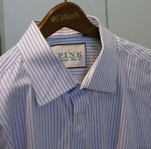 Thomas PINK Blue+Pink = Lavender Stripe Dress Shirt 17.5 x 37 Long TALL