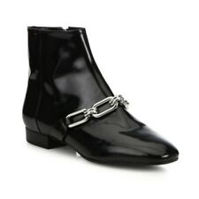 Michael Kors Lennox Patent Leather Ankle Boot Size 6 Black Booties Chain Detail