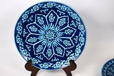 CHEZ GALIP Modern Design Hand Made Ceramic Floral Blue & Turquiose 8 3/4""