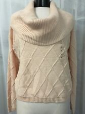 Guess Light Pink Wide Turtleneck Pullover Women's Sweater Size XL NWT