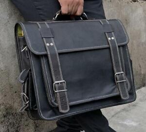 Vintage Black Leather Messenger Laptop Shoulder Bag Backpack Briefcase Sling Bag