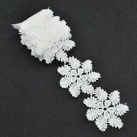 2 Yards Embroidered lace Trim Ribbon Snowflake Hollow Out DIY Dress Sewing Craft