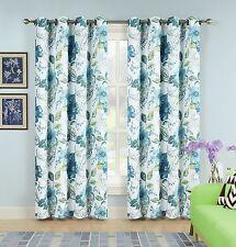 Set of 2 Panels Floral Paisley Room Darkening Grommet Top Window Curtain Pair