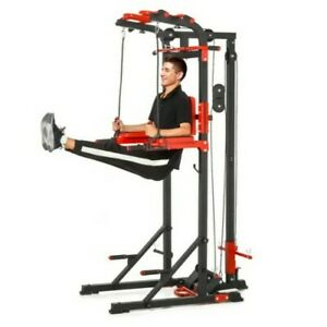 ^  Steel Home Gym Power Tower Multi Station Pull Up Arm Curls Red/Black  32!21