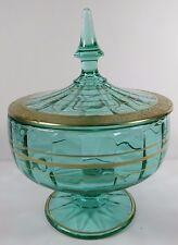 TIFFIN Green Glass Covered Dish Pedestal Paneled Bowl Lid Gold Gilt Rambler Rose