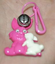 VTG 80s Bunny & Baby Clip On Charm w/ Bell For Plastic Charms Necklace1980s
