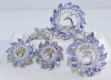 GENUINE 11.76tcw Tanzanite Peacock Set Ring/Earrings/Pendant, Solid S/Silver 925
