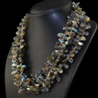 900.00 Cts Natural 3 Strand Blue Flash Labradorite Tear Drop Beads Necklace
