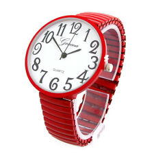 Red Super Large Round Face Easy to Read Unisex Geneva Stretch Band Watch