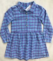 VINEYARD VINES Girls Morgan Way Flannel Dress Pink Plaid 7Q0712 NWT $69 4T