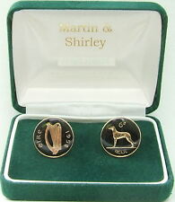 1958 IRELAND cufflinks made from OLD IRISH SIXPENCE in black & gold