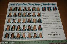 Carolina Panthers Football Topcats 2003 Cheerleader Team 11x14 Poster Handout