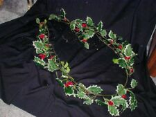 Long String Of Holly Berry's Variegated Greens Faux Flowers Christmas Garland