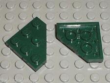 2 x LEGO DkGreen Plate ref 2450 / Set 9498 Saesee Tiin's Jedi Starfighter