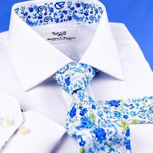 White Herringbone  Formal Shirt Button Cuff  Easy Iron Luxury Fashion