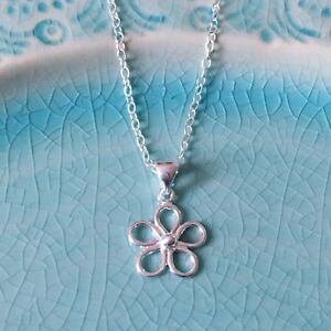 Silver Daisy Necklace - Solid Sterling 925 Flower Pendant Charm Necklace Chain