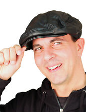 NEW Genuine Soft Leather Driving Flat Cap - Mens Stylish Fashion Sport Hat Black
