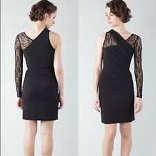 Helmut Lang One Shoulder Black Puckered Lace Crepe Dress Ruched Bodycon Size 2