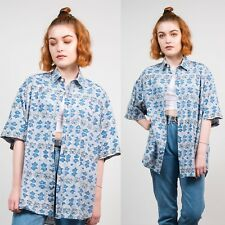 90'S WOMENS VINTAGE SHORT SLEEVE SHIRT BLUE ABSTRACT FLORAL PATTERN WAVEY 16 18