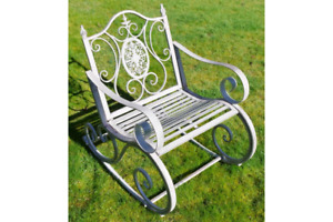 Garden Rocking Chair Grey Shabby Chic Vintage Style aged Seat