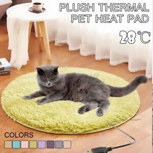 Pet Electric Heat Heating Heater Pad Mat Blanket Dog Bed Cat Warm Soft Fleece