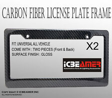 JDM 2 pc Black Carbon FIBER LICENSE PLATE FRAME HOLDER COVER FRONT/REAR F112