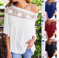Fashion Women Ladies short Sleeve Casual hollow out Blouse Loose Tops T-Shirt