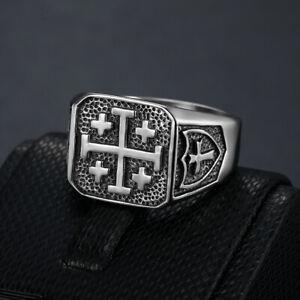 Jerusalem Cross Ring Stainless Steel Crusaders Jesus Potent Heraldry Cross Ring