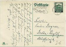 GERMANY 1932 cover Air mail  Mi#463  VF POSTCARD BRESLAU>BERLIN AIRPLANE P.Mark