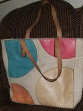 FOSSIL Large Tote beige & multicolor dots Canvas With Leather Trim And Straps