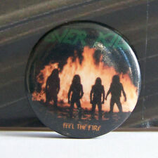 Rare Vintage Pin Metal Pinback 1980s 80s Retro Metal Over Kill Feel The Fire