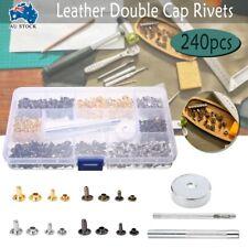 Leather Rivets Double Cap Rivets Metal Fixing Tool Kit Handwork 240 Set