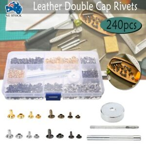Leather Rivets Double Cap Rivets Metal Fixing Tool Kit Handwork 240 Set